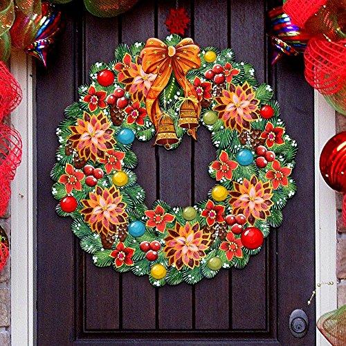 Reindeer Wreath Christmas (G.DeBrekht Christmas Wreath Wooden Decorative Holiday Door Hanger/Wall Hanger #8185307H)