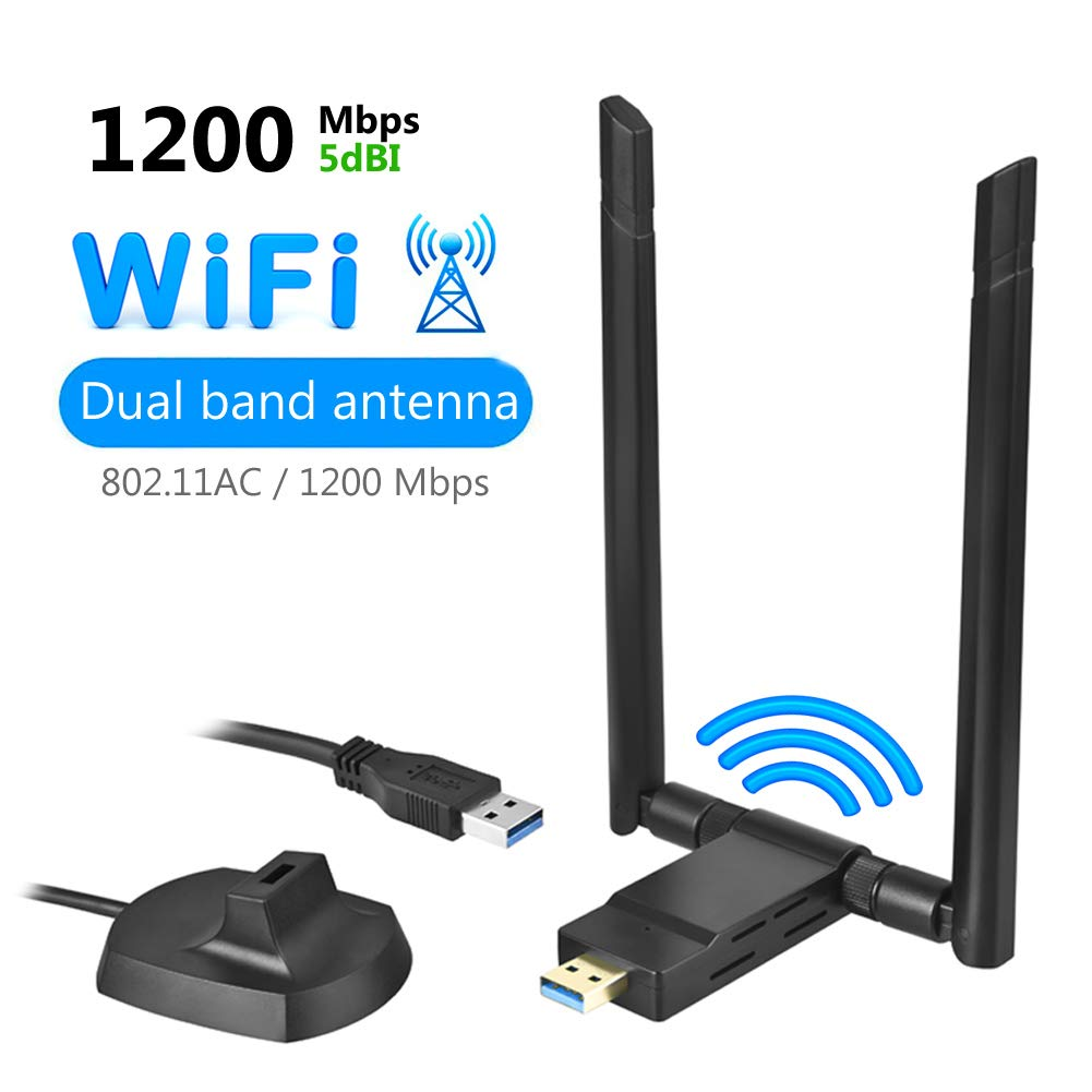 USB WiFi Adapter,1200Mbps Dual Band 2.4GHz/300Mbps 5GHz/867Mbps High Gain 2 X 5dBi Antennas,USB 3.0 Dongle Wireless Network Adapter for Desktop Laptop PC with Windows 10/8/7/XP/Vista, Mac OS, Linux by LED Bright Life