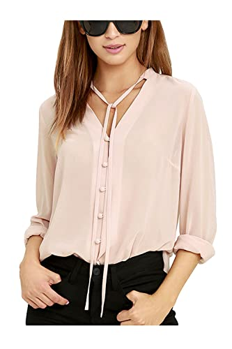 Women 's Casual De Manga Larga Camisa Cuello V Sólido Irregular Top