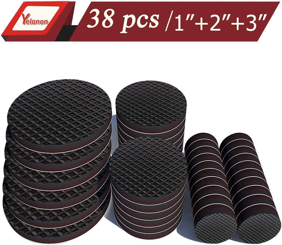 "Yelanon Furniture Pads 20Pcs 1"" + 12Pcs 2"" + 6Pcs 3"" Non Slip Furniture Pads of Chair Leg Floor Protectors Self Stick Rubber Furniture Pads Protect Your Hardwood & Laminate Flooring"