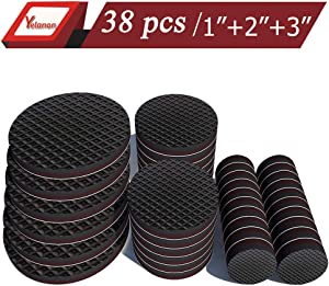 "Yelanon Furniture Pads 20Pcs 1"" + 12Pcs 2"" + 6Pcs 3"" Non Slip Furniture Pads of Chair Leg Floor Protectors Self Stick Rubber Furniture Pads Protect Your Hardwood & Laminate Flooring"
