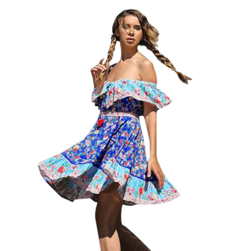 ZOMUSAR 2019 Dress, Women's Summer Fashion Printed Waist V-Collar Chiffon Beach Dresses Blue