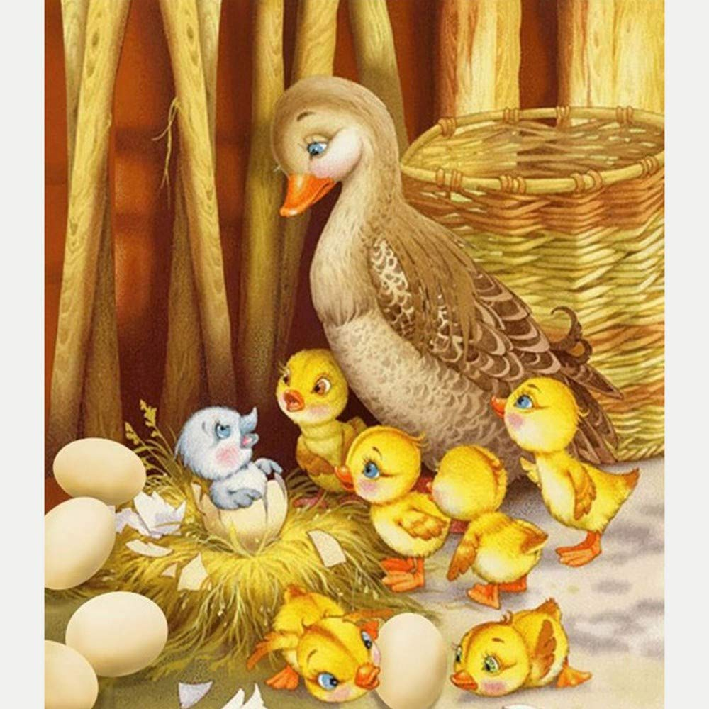 Paint by Numbers for Senior Junior Beginner Level Painting by Numbers Set Duckling with Brushes Paints and Canvas Home Decor 16X20 Inch