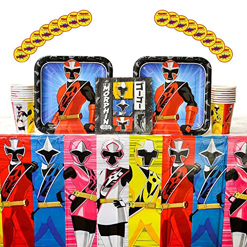 Power Rangers Ninja Steel Birthday Party Supplies Pack for 16 Guests | Stickers, Dinner Plates, Luncheon Napkins, Cups, and Table Cover | Perfect Addition To Power Rangers Birthday Party Decorations