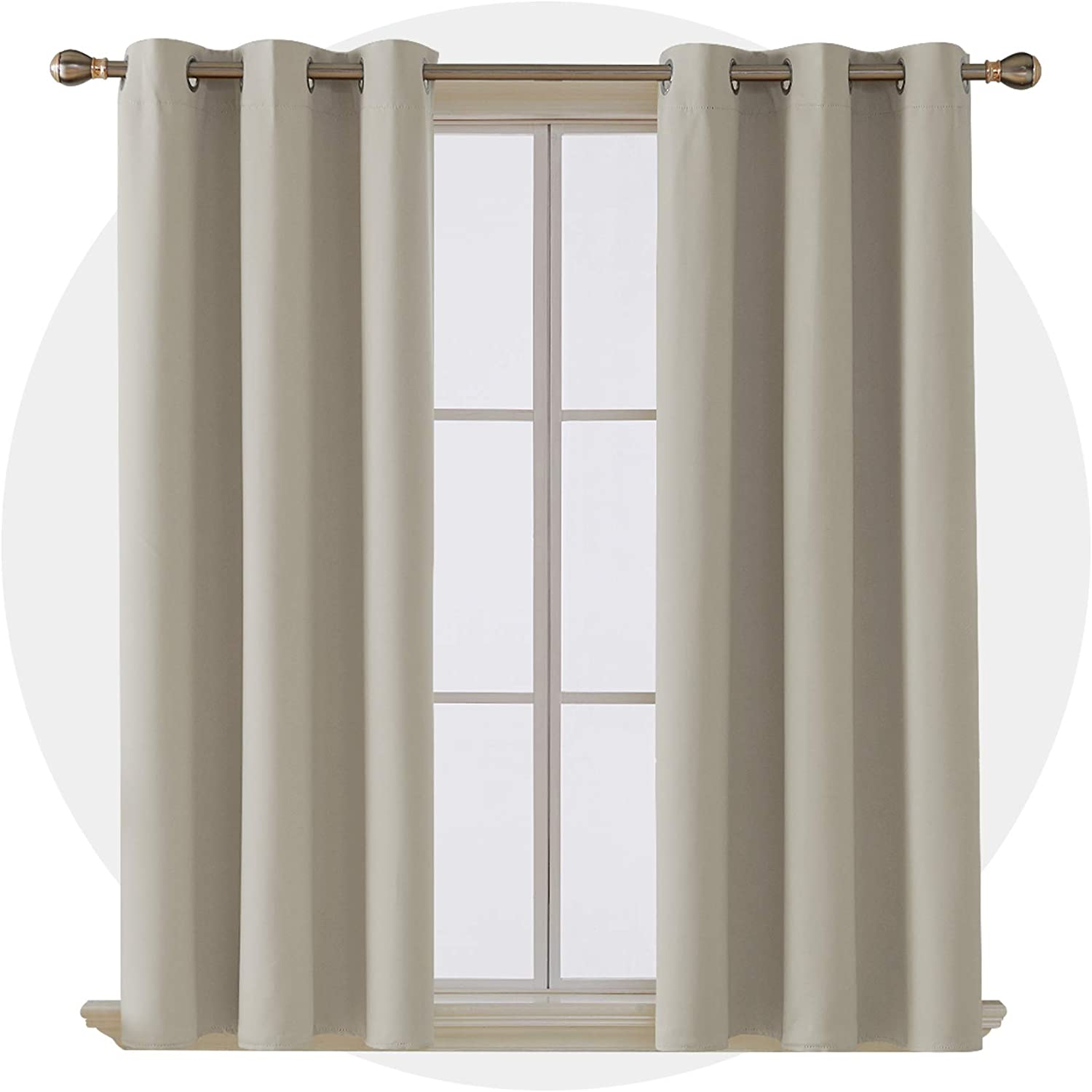 Deconovo Room Darkening Grommet Curtain Panel Thermal Insulated Blackout Curtains for Bedroom 42x63 Inch Light Beige Four Panels