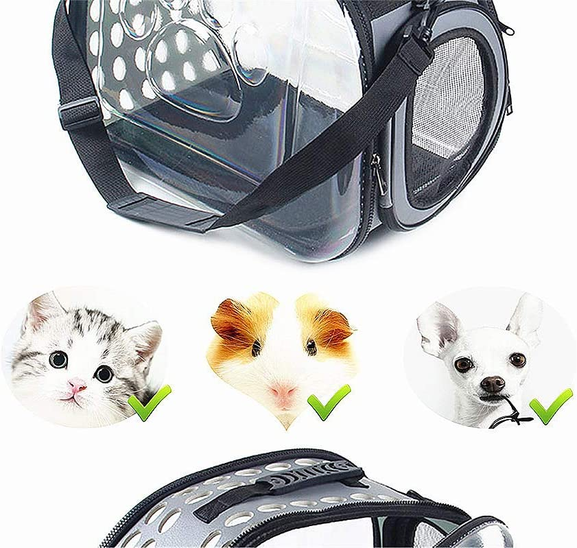 TDL Transparent pet Carrier Breathable Portable Outdoor Travel Bag Soft cat Bracket Clear Handbag Suitable for Small and Medium Animal Dogs Less Than 13 pounds Foldable