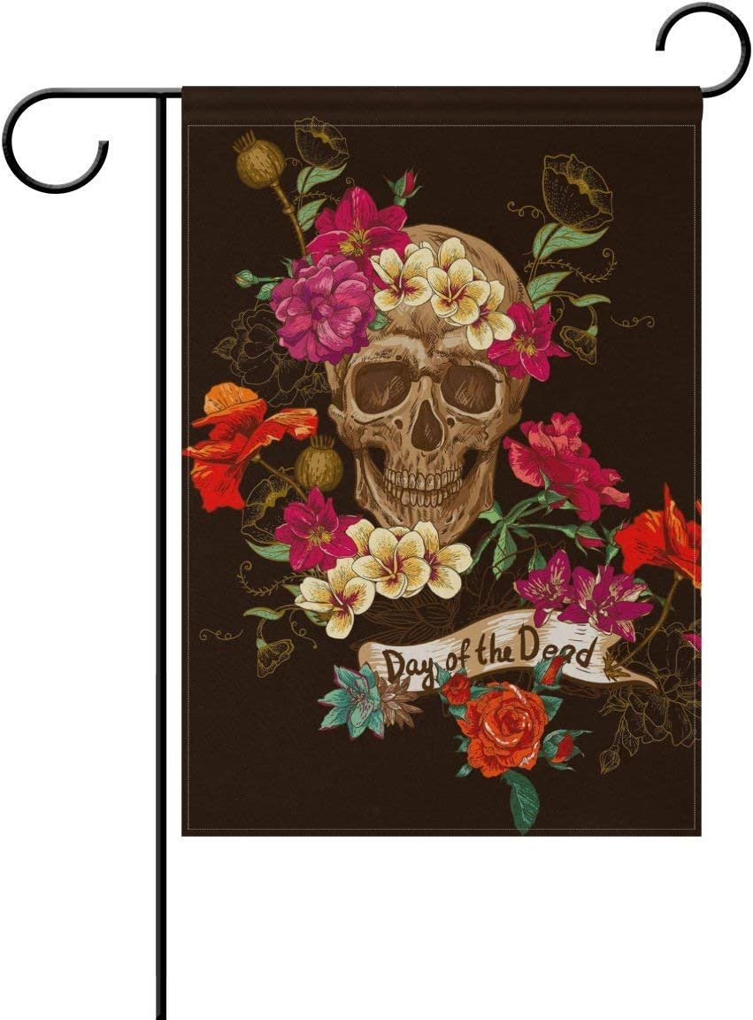 Raininc's Sugar Skull Flowers Day of The Dead Garden Flag 12 X 18 Large Inches, Double Sided Outdoor Yard Yall Garden Flag for Wedding Party House Home Decor