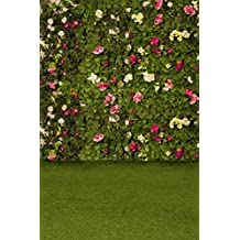HUAYI 200x300cm Weeding Flower Wall Floral Backdrop Green Grass Background Photography backdrop Photo Background for wedding decoration Party banner Xt-4349)