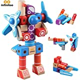 Building Blocks, infinitoo Non-Toxic Wooden Building Blocks Set -100 Models Imagination for Kids over 3 Years Old | Construction Toys Educational Stacking Kits for Boys & Girls |Edutainment as Holiday, Birthday Gift with Instruction Booklet