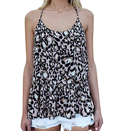bed030274aefd0 Amazon.com  Women Loose Fit Tank Tops Summer Sleeveless Leopard ...
