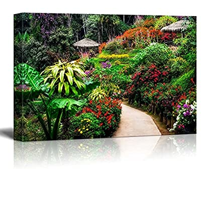 Canvas Prints Wall Art - Beautiful Scenery/Landscape Colorful Flower Garden in Blossom | Modern Wall Decor/Home Decoration Stretched Gallery Canvas Wrap Giclee Print & Ready to Hang - 24