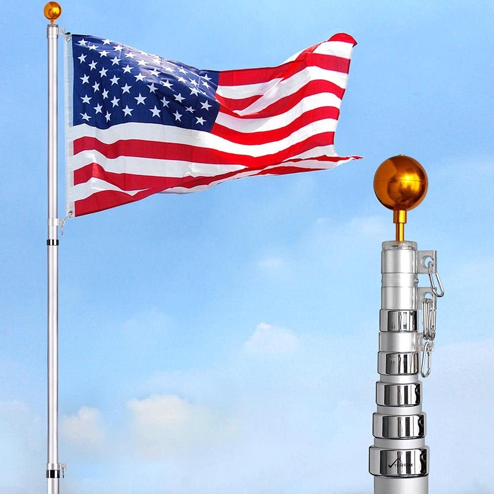 Amazon Com Yeshom 30 Ft Telescopic Flag Pole Kit 16 Gauge Aluminum Outdoor Flagpole 3 X5 Us Flag Ball Fly 2 Flags Garden Outdoor