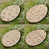 Tuscom 4Pc Wooden Hanging Happy Easter Egg Decorations,Easter Pendant,Hanging Pendant Wall Door Decor Sign Hanger for Home Shop (Yellow)
