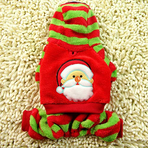 FidgetKute Santa Claus Pet Dog Costume Puppy Clothes Jumpsuit Warm Fleece Hoodie Christmas L