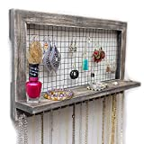 Rustic Wooden Wall Mount Jewelry Organizer for Earrings / Necklaces / Bracelets / Accessories (Rustic - Hooks)