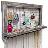 Rustic Wooden Wall Mount Jewelry Organizer For Earrings / Necklaces /  Bracelets / Accessories (Rustic   Hooks)