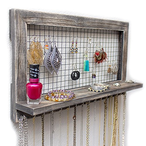 SoCal Buttercup Rustic Jewelry Organizer from Wooden Wall Mounted Holder for Earrings/Necklaces/Bracelets/Accessories