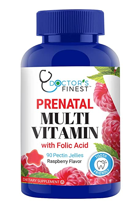 Doctors Finest Prenatal Multivitamin W/Folic Acid & Iron Gummies - Vegetarian, GMO-Free & Gluten Free - Great Tasting Raspberry Flavor Pectin Chews - 90 Count [45 Doses]