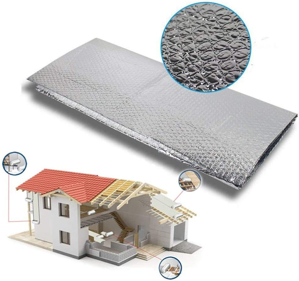 Dripex Isolierfolie D/ämmfolie Doppelte Aluminium Folien-Blase Dachisolierung 3-4mm Isolierungsfolie W/ärmehaltung 1.0x20m - 20㎡