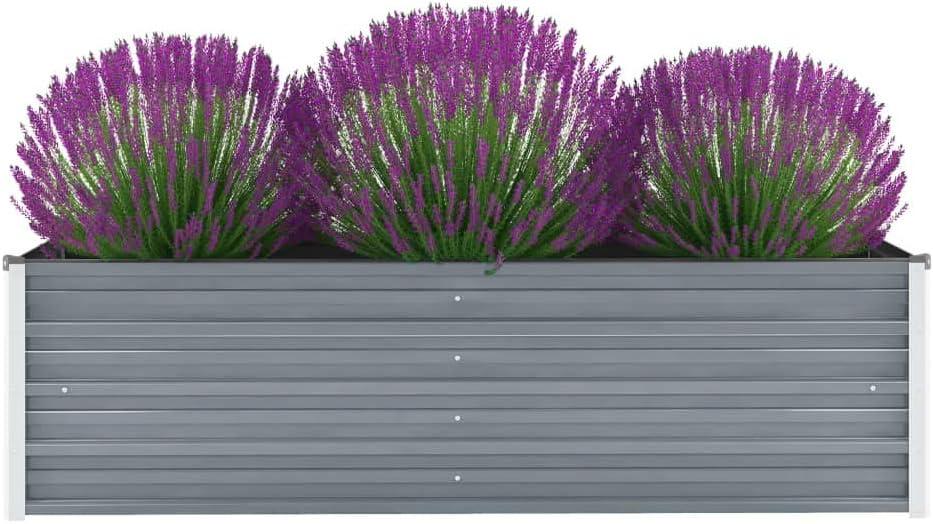 vidaXL Outdoor Metal Raised Garden Bed Box Vegetable Planter Raised Garden Beds for Growing Fresh Veggies, Flowers, Herbs, and Succulents, Galvanized Steel 63x15.7x17.7 inch Gray