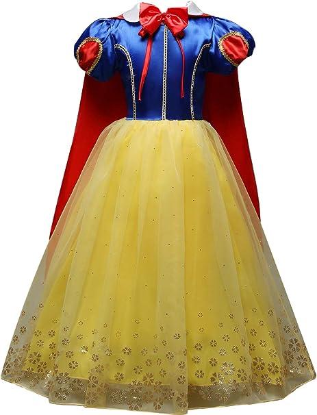 Monissy Niña Cuento de Hadas Blancanieves Disfraz de Princesa Capa ...