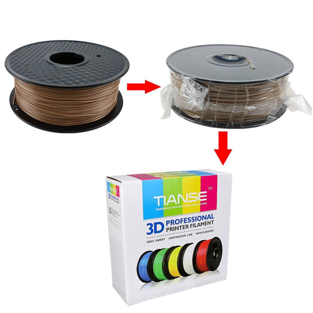 Dimensional Accuracy // 0.03 mm TIANSE Wood 3D Printer Filament 1.75mm 1KG Spool Filament for 3D Printing