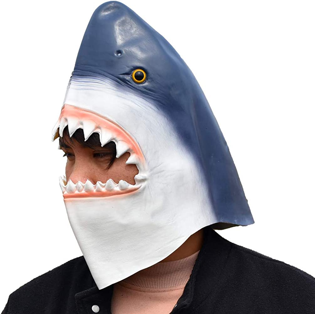 PARTY STORY Shark Mask Halloween Latex Animal Mask Novelty Rubber Costume Full Head Masks, blue, Free size