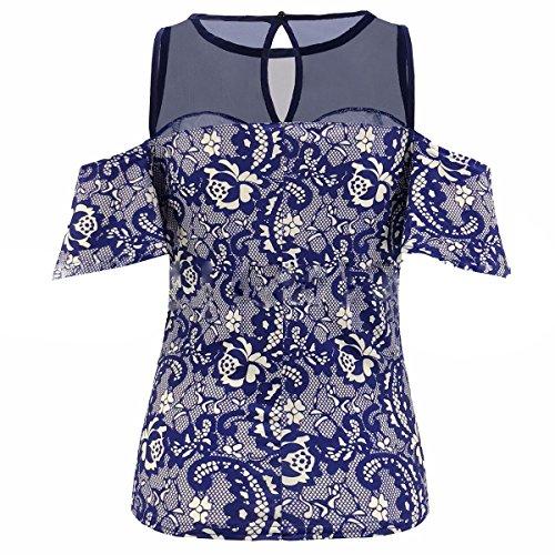 GotFeelin T-Shirt O-Collo Manica Corta a Girocollo con Motivo Floreale a Spalla Fredda per Le Donne (Color : Blue, Size : XL)