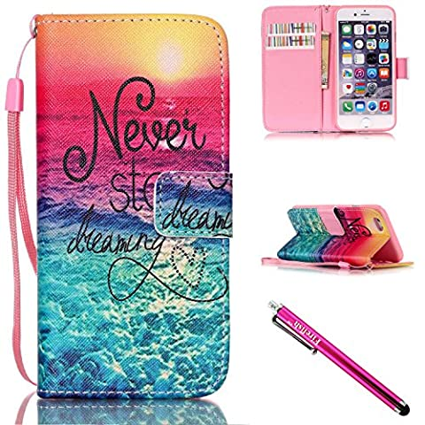 iPhone 5S Case, iPhone 5 Wallet Case, Firefish [Kickstand] PU Leather Flip Purse Case Slim Bumper Cover with Lanyard Magnetic Skin for Apple iPhone 5/5S/SE + including One - Iphone 5 Phone Case