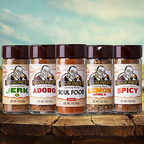 Seasonest Keep it Hot Variety 5-Pack Gourmet Organic Spice Gift Set-Spicy Hot Seasoning & BBQ Rub with French Sea Salt-Spicy Chicken Seasoning, Beef, Veggie, Vegan, Soul Food, Cajun,Paleo,Ketogenic (Popcorn Bbq Seasoning compare prices)