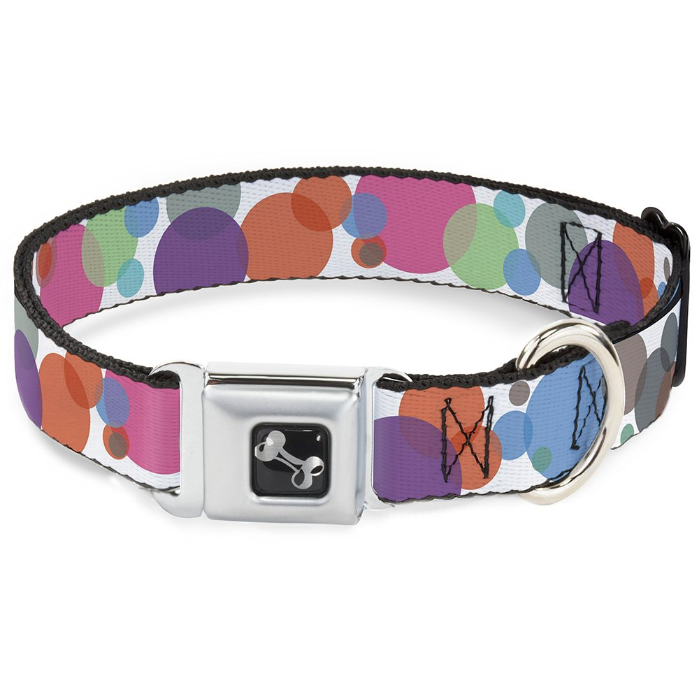 Buckle-Down Seatbelt Buckle Dog Collar Dots White Transparent Multi color 1.5  Wide Fits 13-18  Neck Small