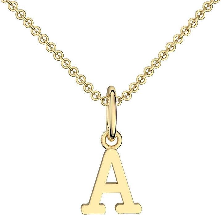 Collar letra oro plateado letra A - con Estuche + - Cadena letra ...