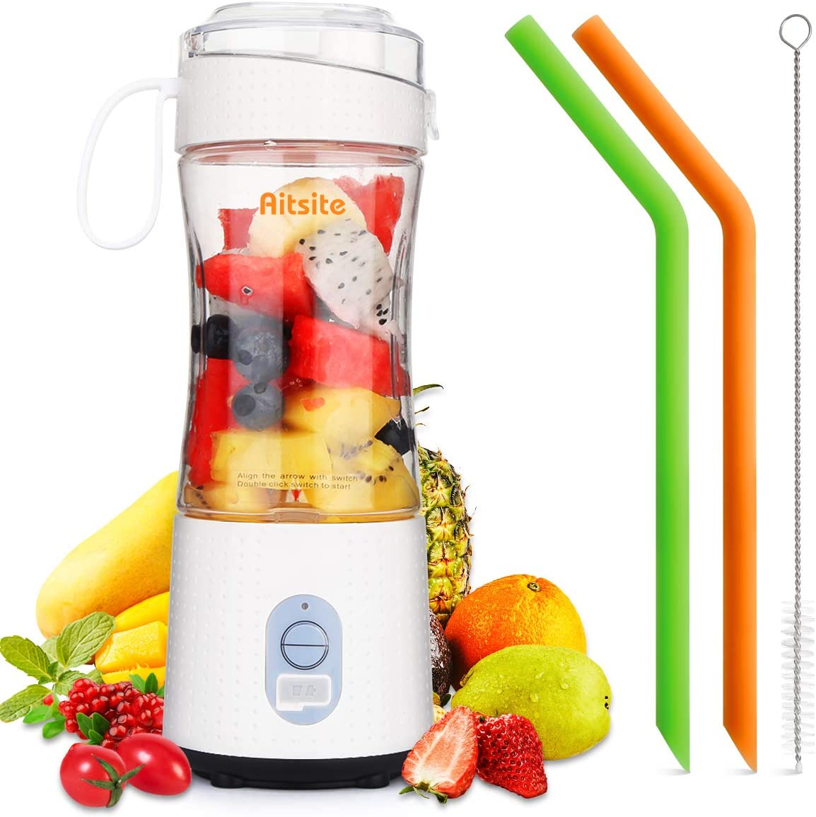 Aitsite Portable Blender, Personal Mixer Fruit Rechargeable USB with 2 Straws, Mini Blender for Smoothie, Fruit Juice, Milk Shakes 380ml, Six 3D Blades for Great Mixing (White)
