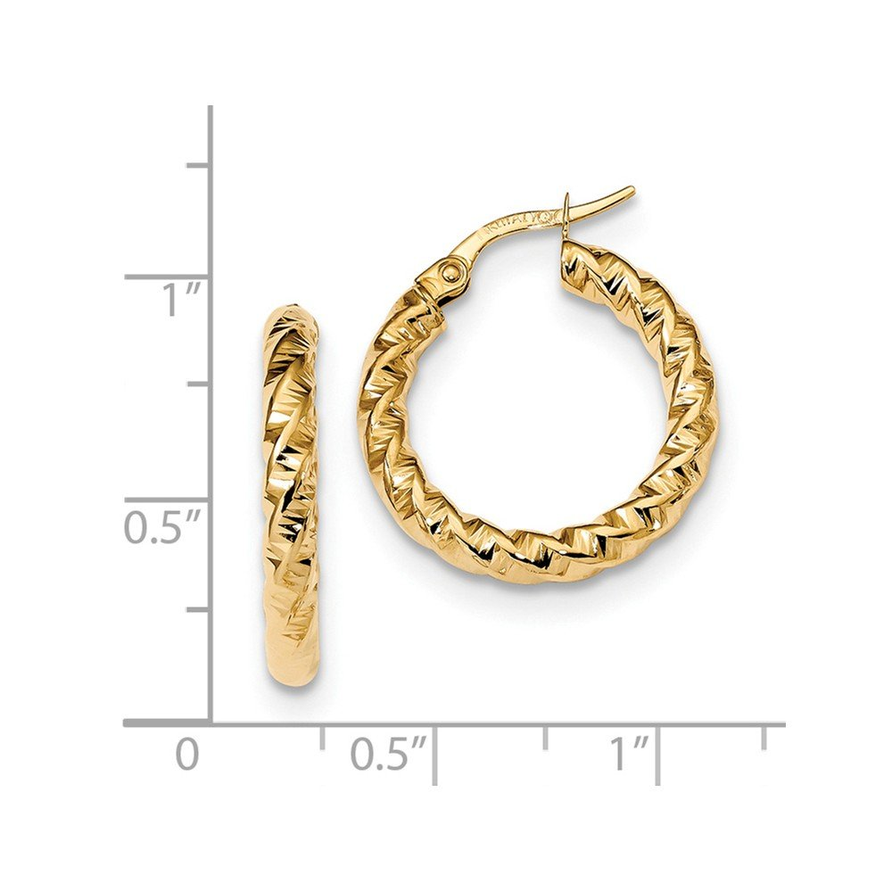Mia Diamonds 14k Yellow Gold Gold Polished 3mm Twisted Hoop Earrings
