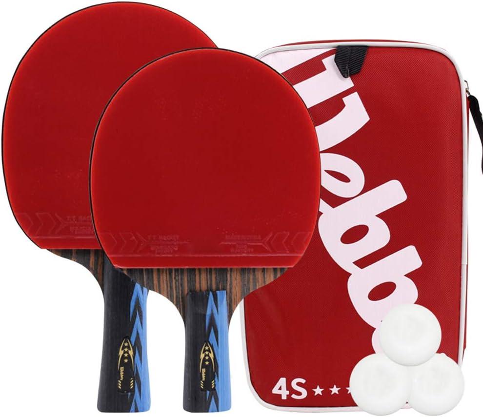 DGYAXIN Palas Ping Pong, Table Tennis Set 7 Capas de Madera de Doble Cara, línea de Goma, 2 Raquetas y 3 balones, manija cómoda, Competencia Deportiva Escolar