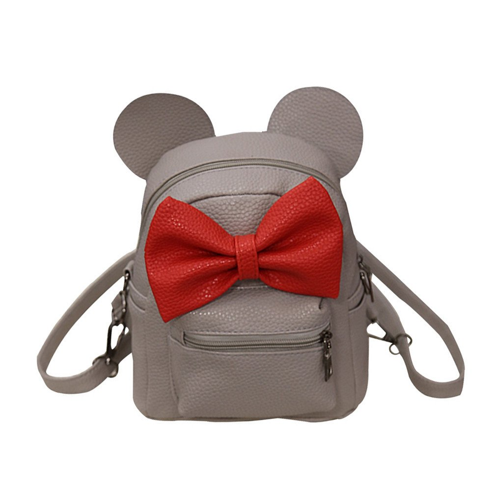 vermers Women's Backpack New Fashion Backpack Bow Tie Mickey Backpack Female Mini Bag(Gray)