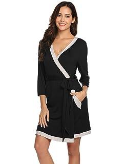 7238e41aa8 Womens Robe Super Soft Modal Cotton Robes 3/4 Sleeves Knit Bathrobe Short  Sleepwear