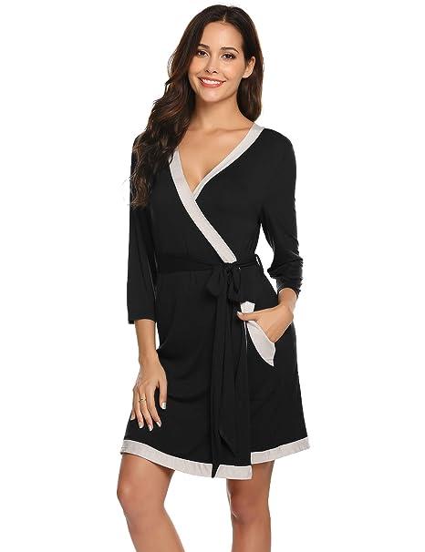 Amazon.com: Albornoz para mujer de algodón modal súper suave ...