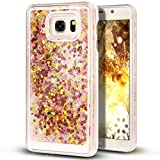 Liquid Case for Samsung Galaxy S7,Creative Design Floating Bling Glitter Sparkle Diamond Hexagon Stars Hard Plastic Case for Samsung Galaxy S7(Pink)