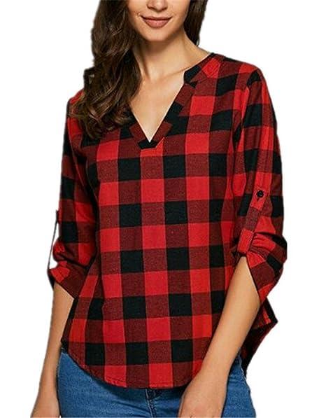 BESTHOO Camisa Mangas Largas Mujer Camiseta Clasicos Cuadros Camisas V Cuello Blusa Elegante Casual T-shirt Dobladillo Irregular Tops Suelto Universidad: ...
