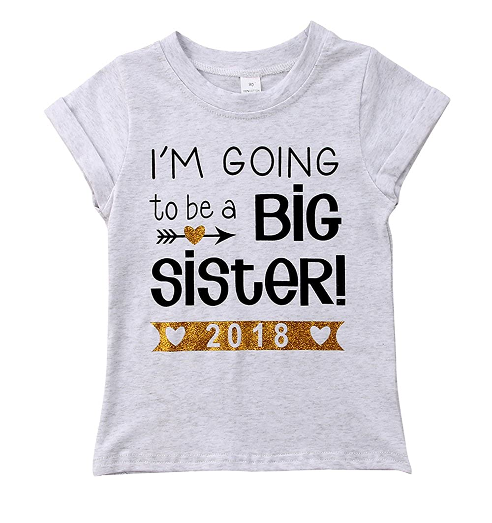 c54e5aa0 Amazon.com: I'm Going to be a Big Sister Tops Toddler Baby Girls Letter T- Shirt Grey Casual Blouse: Clothing