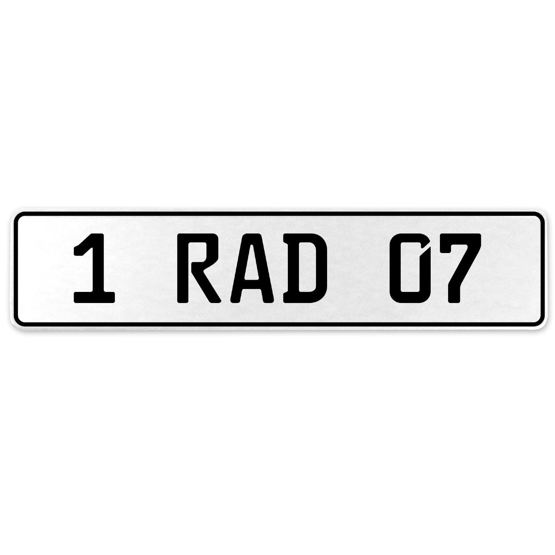 Vintage Parts 554010 1 RAD 07 White Stamped Aluminum European License Plate