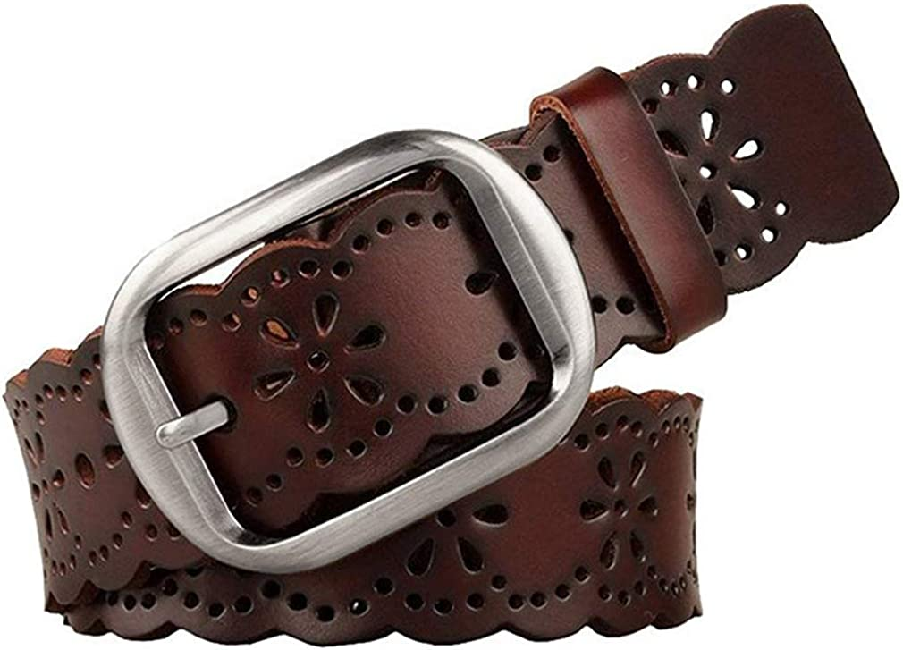 JASGOOD Women's Hollow Flower Leather Belt for Jeans Pants Wide Belt for Ladies
