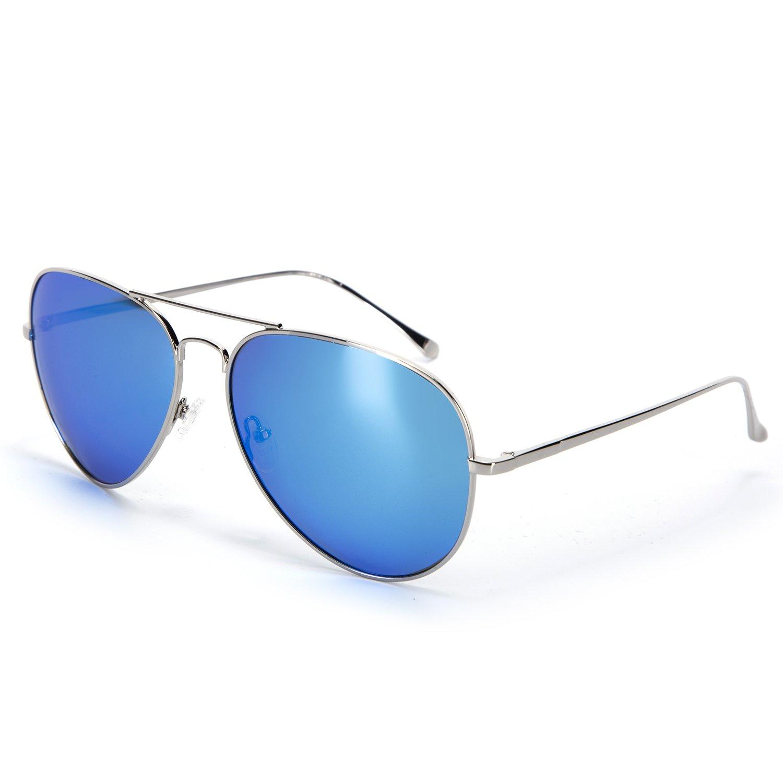 YJMILL 2017 New Polarized Sunglasses Retro Pilots Riding Fishing Golf Travel Sunglasses Men 0863 (Silver, Ice blue)