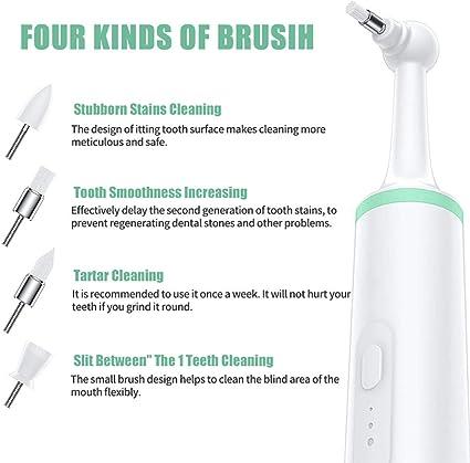 Delaspe Spazzolino elettrico per animali domestici, per rimuovere le macchie dei denti del cane, con 4 testine di spazzola, strumento per la pulizia