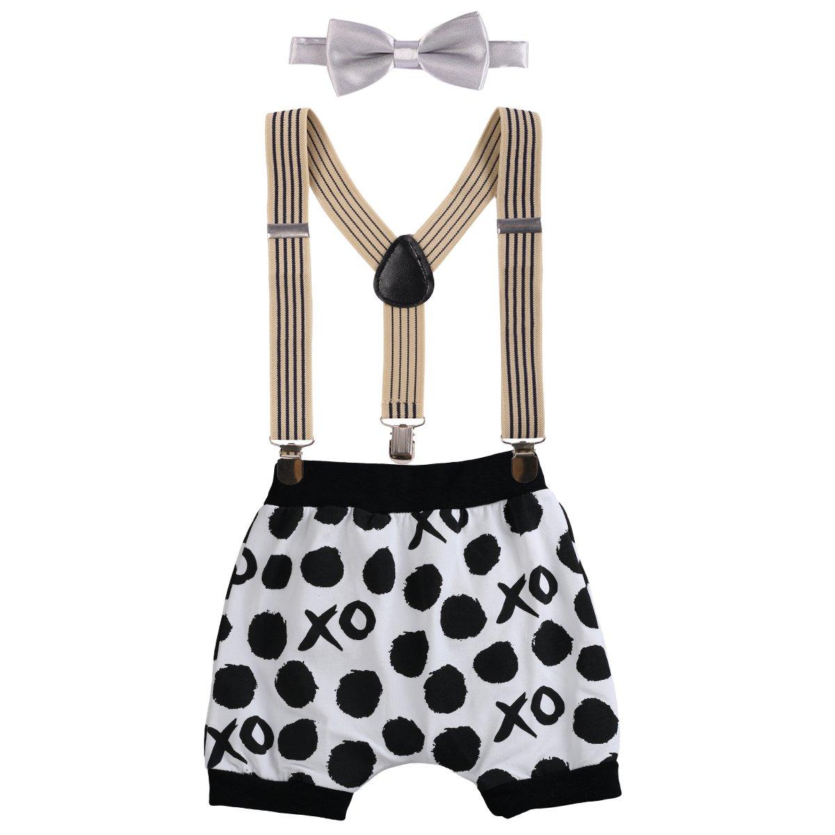Bébé Fille Garçons 1er Anniversaire Costume de Photographie Sarouel Shorts Gentleman 3 Pièces Tenues Pour Enfants Bretelles Réglable en Y Dentelle Nœud Papillon