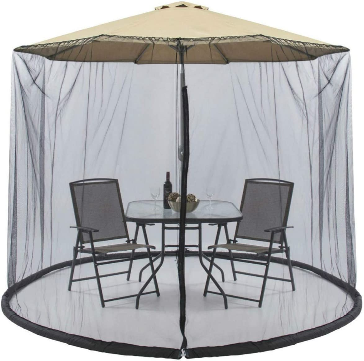 H ZT Mosquito Net for Patio Umbrella with Zipper Mesh Screen for Patio Table Fits 9-10FT Patio Umbrella Outdoor Garden Courtyard Black
