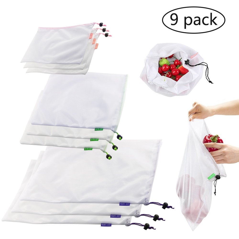 9-Pack Reusable Mesh Produce Bags, BIG HOUSE Double-Stitched Strength, ECO-Friendly Washable Shopping Bags with Tare Weight on Tags for Fruit Toy Vegetable Grocery Shopping Storage(3 Different Size)