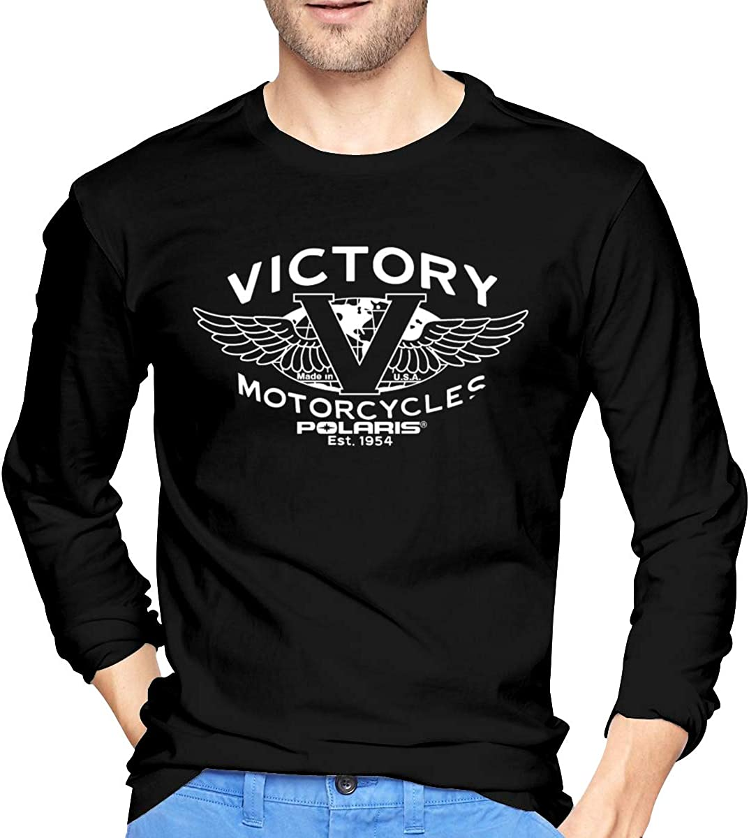 Yestrong Men Cotton Printing of Victory Motorcycles Polaris Long Sleeve Tees