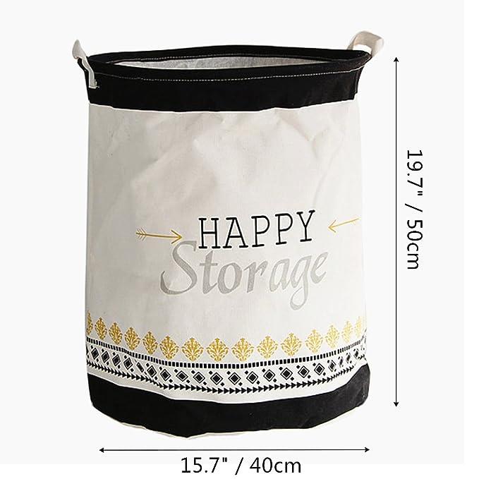 znvmi Ropa Plegable Cesto resistente al agua juguete redondo de almacenamiento Saco de colada con asas negro retro - Happy Storage: Amazon.es: Hogar